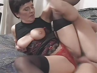 Horny Old Grandma Jackie Fucks On Bed