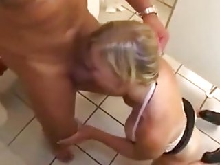 Garman milf fucked in ass in toilet